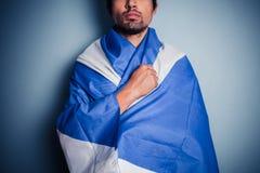 Schotse nationalist die Saltire dragen Stock Afbeeldingen