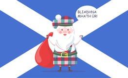Schotse Santa Claus in Kilt begroet met Nieuwjaar Royalty-vrije Stock Fotografie
