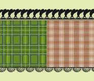 Schotse stof, gevoelig borduurwerk stock illustratie