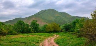 Schotterweg auf grüner Berglandschaft Lizenzfreies Stockbild