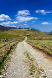 Schotterweg in den Bergen Stockbild