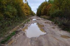 Schotterweg mit großen Pfützen im Herbst stockbilder
