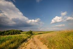 Schotterweg und Felder Lizenzfreie Stockbilder