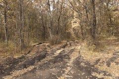 Schotterwege Löcher gebildet mit Lastwagenn Stockbild