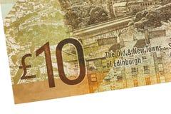 Schottische Banknote, 10 Pfund Lizenzfreies Stockfoto