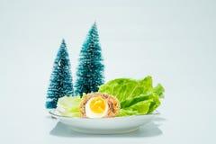 Schottische Eier mit verziertem Hintergrund lizenzfreies stockbild