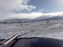 Schottische Hochlandlandschaft im Winter Stockfotos