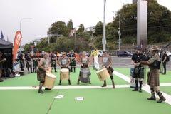Schottische Schlagzeuger und Dudelsackspieler ICC CWC 2015 Lizenzfreie Stockfotos
