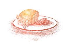 Schottische Zartheit, Hammelfleisch mit Zwiebel zerkleinern und Fett gekocht im Lammmagen, traditionelle K?che, k?stlicher Teller lizenzfreie abbildung