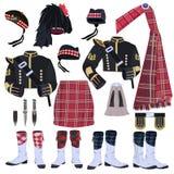 Schottischer traditioneller Kleidungsvektor-Ikonensatz stock abbildung