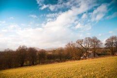 Schottisches Bauernhaus und Ackerland nahe Glasgow Stockbild