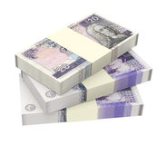 Schottisches und britisches Geld lokalisiert auf weißem Hintergrund Lizenzfreie Stockbilder