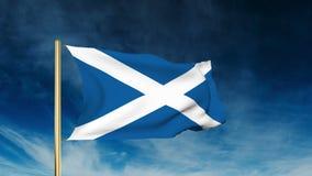 Schottland-Flaggenschieberart Wellenartig bewegen in den Gewinn mit stock video