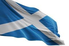 Schottland-Staatsflaggewellenartig bewegen lokalisiert auf weißer Illustration des Hintergrundes 3d stock abbildung