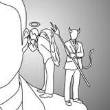 Schouderduivel en hand van de de krabbelschets van de engelen de vectorillustratie stock illustratie