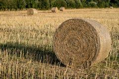 Schoven van stro op het gebied worden geschikt dat Het werk tijdens oogst wordt gedaan die royalty-vrije stock fotografie