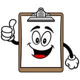 Schowek maskotka z aprobatami ilustracja wektor