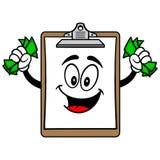 Schowek maskotka z pieniądze ilustracja wektor