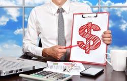 Schowek z rysunkowym dolarowym symbolem Fotografia Stock