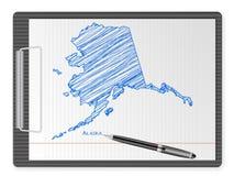 Schowka Alaska mapa Obraz Stock