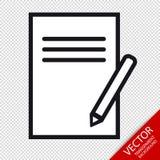 Schowka I ołówka ikony Odizolowywać Na Przejrzystym tle - Editable Wektorowa ilustracja - Obraz Stock