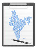 Schowka India mapa Fotografia Stock