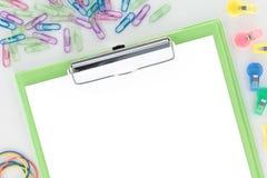 schowka zielony przeglądu papierowego materiały biel Obrazy Royalty Free
