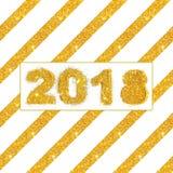 Schrägstreifen und Tabellen 2018 des goldenen Funkelns auf weißem Hintergrund, Karte für Ihr Design Stockbild