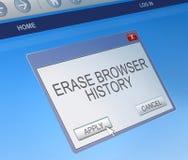 Schrap het doorbladeren geschiedenisconcept Stock Foto's