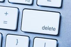 Schrap sleutel op moderne dichte omhooggaand van het computertoetsenbord Stock Afbeelding