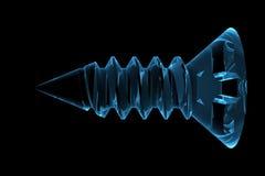 Schraube 3D machte Röntgenstrahl blau Stockfoto