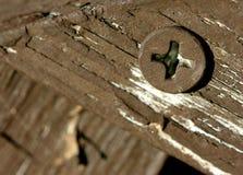 Schraube am Holz Stockfotografie