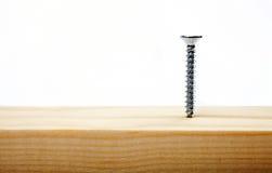 Schraube im Holz Lizenzfreie Stockfotos