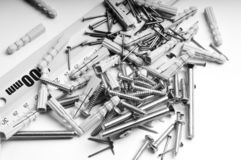 Schrauben, Muttern, Stahl Lizenzfreies Stockbild