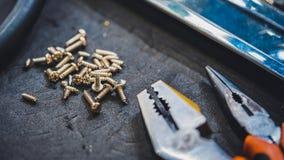 Schrauben-Zangen und Nuts Werkzeug stockfoto