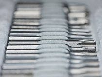 Schraubendreherbits im Werkzeugkasten Lizenzfreie Stockfotos