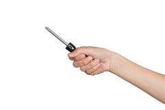 Schraubenzieher mit der Hand lokalisiert auf einem weißen Hintergrund Stockbild