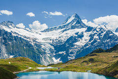 Schreckhorn over Bachsee, Alps, Switzerland Stock Photos