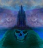 Schreckliche Illustration Halloweens mit einem Geist Lizenzfreie Stockfotografie