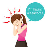 Schreckliche Kopfschmerzen der berufstätigen Frau Stockfotografie