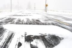 Schrecklicher Winter-Straßenzustand Stockbild