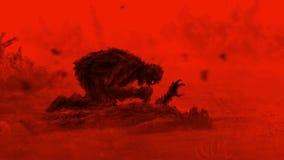Schrecklicher Zombie sitzt und isst sein Opfer Rote Farbe stock abbildung