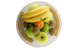 Schreeuw hoogtepunt van verschillende vruchten op de witte achtergrond Royalty-vrije Stock Fotografie