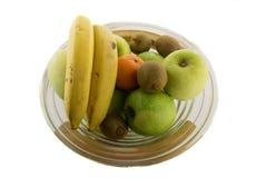 Schreeuw hoogtepunt van verschillende vruchten op de witte achtergrond Royalty-vrije Stock Afbeelding
