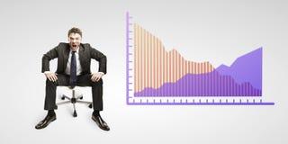 Schreeuwen van de mens luid onder dalende percents tekens stock foto