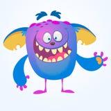 Schreeuwend leuk monsterbeeldverhaal Blauwe aanbiddelijke uiterst kleine monstersleeplijn, kwelgeest of kobold die met scheur sch Royalty-vrije Stock Afbeeldingen