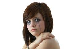 Schreeuwend meisje met make-up Royalty-vrije Stock Foto