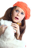 Schreeuwend meisje met stuk speelgoed Royalty-vrije Stock Foto