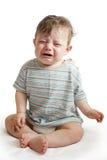 Schreeuwende babyjongen op wit Royalty-vrije Stock Afbeelding