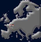 Schreeuwende eenzame kaart van Europa royalty-vrije illustratie